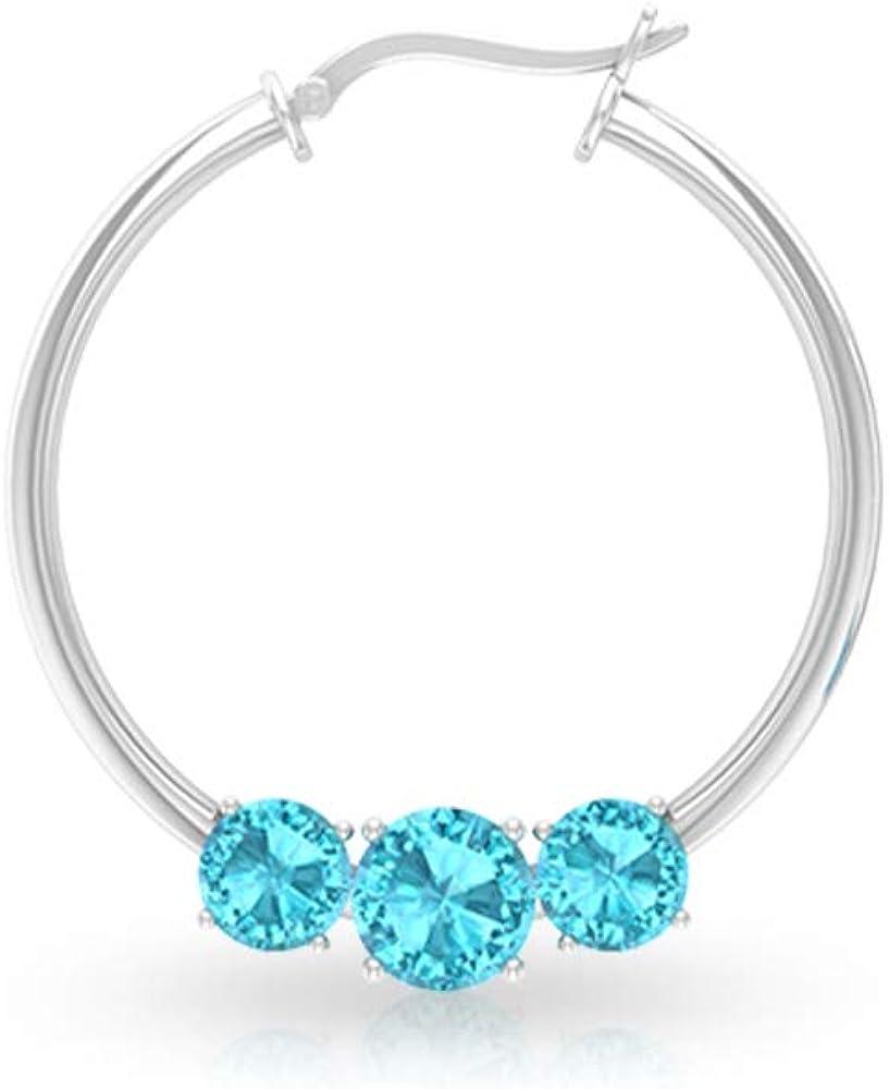 Pendiente de aro suizo con topacio azul, certificado SGL, para novia, boda, boda, dama de honor, joyería de oro de 14 quilates, cerradura rusa