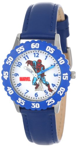 Marvel Kids' W000108 Spider-Man Stainless Steel Time Teacher Watch (Time Watch Leather Teacher)