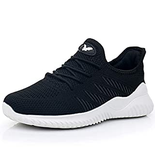 Womens Memory Foam Walking Shoes Lightweight Fashion Sports Gym Jogging Slip on Tennis Running Sneakers Black 7 B(M) US