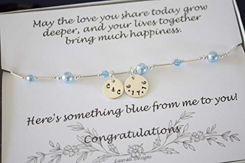 Something Blue Bridal Gift Anklet Sterling Silver Blue Pearl Date Couples Custom Charm Bride Groom ()