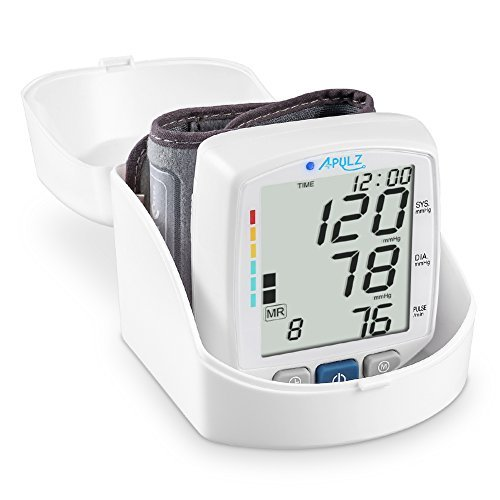 APULZ Wrist Blood Pressure Cuff Monitor, Compact Digital Home Blood Pressure Monitor with Position Detection for Accurate Readings, 240 Memory Entries for 2 Users, Adjustable Cuff Size, Storage Box