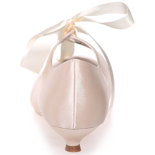 Tie 04 Jane Satin Wedding ZXF9001 Toe Closed Ribbon Prom Party Stiletto Women' Champagne Shoes Mary Court Heels Clearbridal nxFpavwp