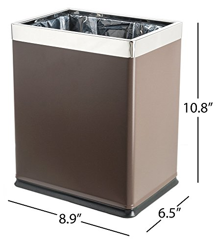 Brelso 'Invisi-Overlap' Open Top Metal Trash Can, Small Offi