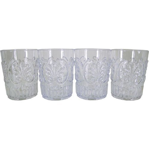 - Set of 4 Le Cadeaux Classic Break Resistant Drinkware Tumblers or Water Glasses, Clear