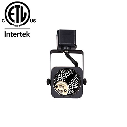 King SHA Square Black GU10 Line Voltage Track Lighting Head (Bulb NOT Included) H Type System ETL-Listed
