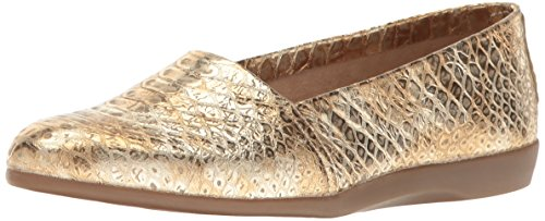 Aerosoles Women's Trend Setter Slip-on Loafer, Gold Snake, 9.5 M US - Gold Shoes Wide