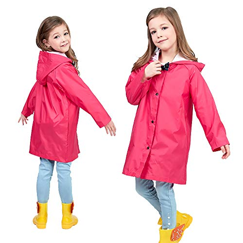 Red Raincoat for Kids 2-10T Boy Rain Coat Toddler Boy Rain Jacket Packable Rain Jacket with Hood Girl Rain Jacket Rubber Long Sleeve Rainwear for Girls Hike Rainwear Stretch Repel Rainwear Jacket L