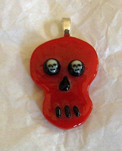 (Red Skull Shaped Handmade Fused Glass Pendant)