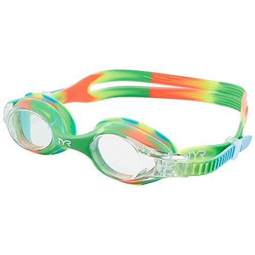 TYR Youth Tie Dye Swimple Goggles, Green/Orange