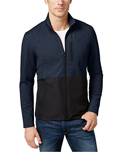 Alfani Men's Colorblocked Knit Jacket (Medium, Neo Navy (Alfani Jacket)