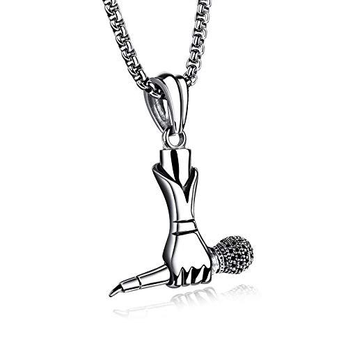 Punk Tide Creative Male and Female Singer Mini Microphone Necklace Rock Hip Hop Necklace,Men's and A Beautiful Gift Box