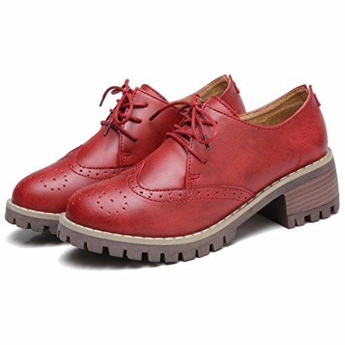 Cuir Bloc Femme Chaussures Lacets Talon Moonwalker Derbies Rouge à Brogues Oxfords en R4FWq