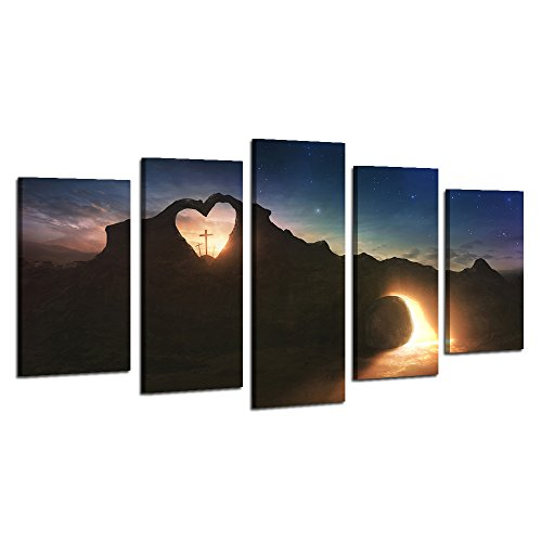 Sunset Cross (Visual Art Decor 5 Panel Christ Religion Pictures Cross on Mountain in Fancy Sunset Painting Canvas Prints with Frame Living Room Church Wall Decoration (Large))