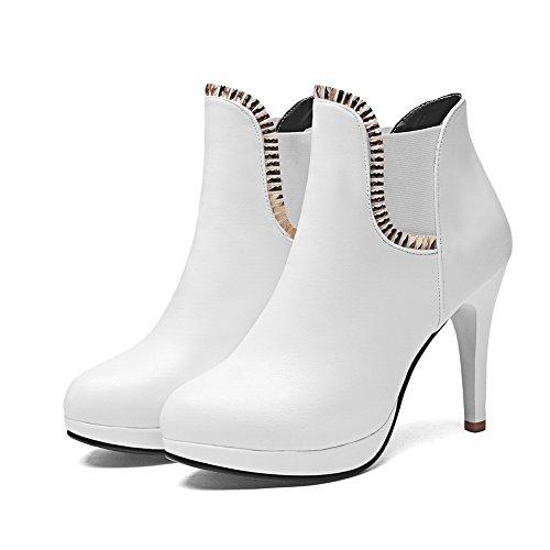 AdeeSu Ladies Glass Diamond Stiletto Platform Imitated Leather Boots White 2Wdjw3x