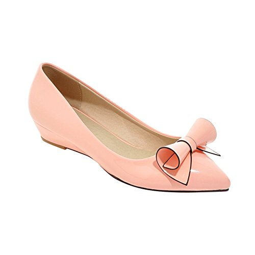 Women's Bow Pointed Pink Heel Low Carolbar Sweet Elegant Shoes Wedge Toe Court wtTqdx