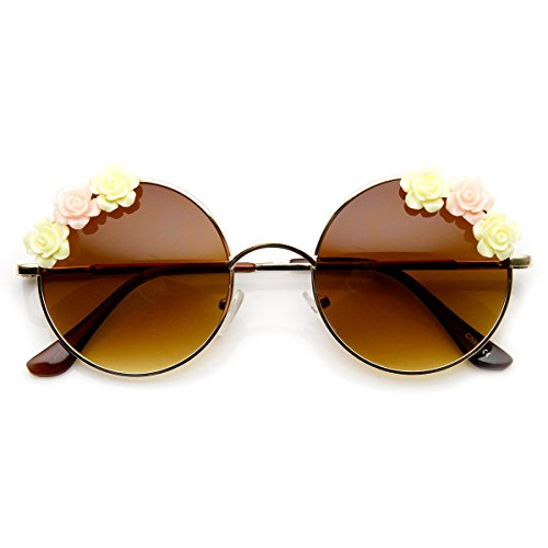 zeroUV - Flower Adorned Hippie Floral Metal Circle Round Sunglasses - Flower Sunglasses Round