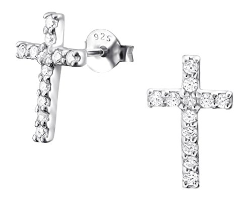 .925 Sterling Silver .55 cttw CZ Simulated Diamond Cross Stud Earrings by Forbidden Body Jewelry