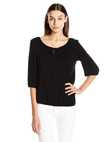 Star Vixen Women's Elbow Sleeve Elastic Hem Peasant Top with Keyhole Tie, Black, Large