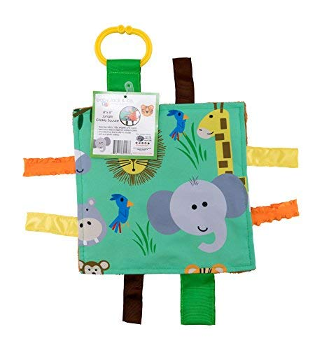 "Baby Sensory Crinkle & Teething Square Lovey Toy with Closed Ribbon Tags for Increased Stimulation: 8""X8"" (Jungle Safari)"