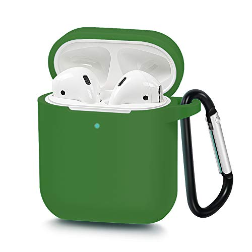 USSJ Compatible for AirPods Case Cover with Keychain, [Front LED Visible]&[Support Wireless Charging],Shockproof Protective Silicone Cover Skin for AirPods Charging Case 2 (Grass Green)