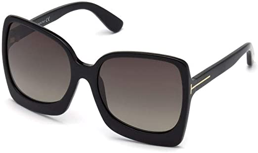 Tom Ford FT 0618 01K EMANUELLA Shiny Black Sunglasses w// Brown Gradient Lenses