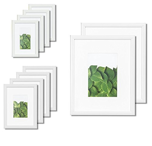 (Vista Kayan Gallery Picture Frame 10-Pack Photo Set in Soft White, (2) 8x10, (4) 5x7,(4) 4x6, Wide Mats)