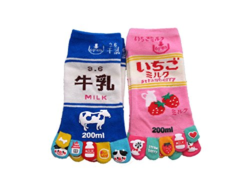 king-original-japanese-five-toe-ankle-socks-2-pairs-milk-and-strawberry-milk