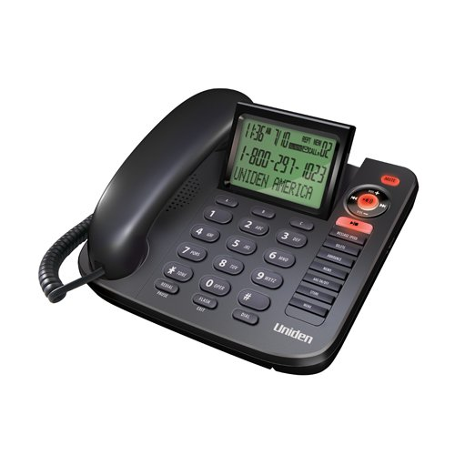 Uniden 1380BK Corded Caller ID phone with Answering System, black, one phone (Black Uniden Telephone)