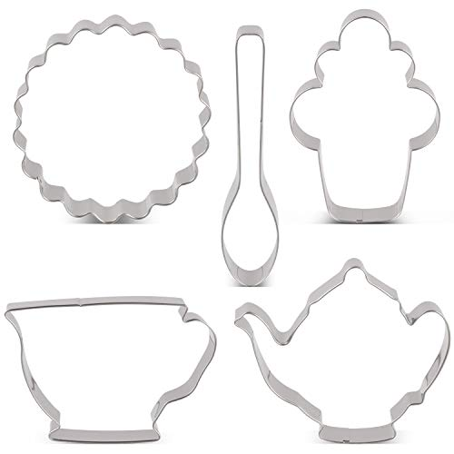 LILIAO Tea Party Cookie Cutter Set - 5 Piece - Teapot, Teacup, Cupcake, Spoon and Coaster Biscuit Fondant Cutter - Stainless Steel