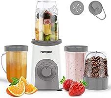 ジューサー homgeek ミキサー スムージー 氷も砕ける,果物&離乳食用 持ち運び ブレンダー 栄養補充 水洗い可能 掃除簡単 過熱保護 mixer