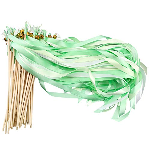 - Cieovo 50 Pack Ribbon Wands Wedding Streamers with Bells, Silk Fairy Stick Wand Party Favors for Party Activities Baby Shower Holiday Celebration (Mint Green)