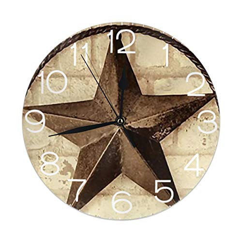 Round Wall Clock Desk Clock Retro Vintage Texas Rising Star Printed for Home House Office School Decor No Ticking Digital Battery Operated 9.84 Inch