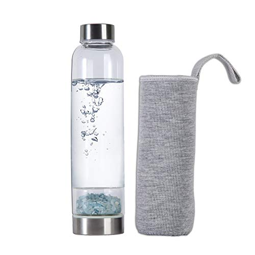 AMOYSTONE Aquamarine Crystal Crushed Stones Water Bottle Infuser Energy with Removable Crystal Protective Sleeve 500ml