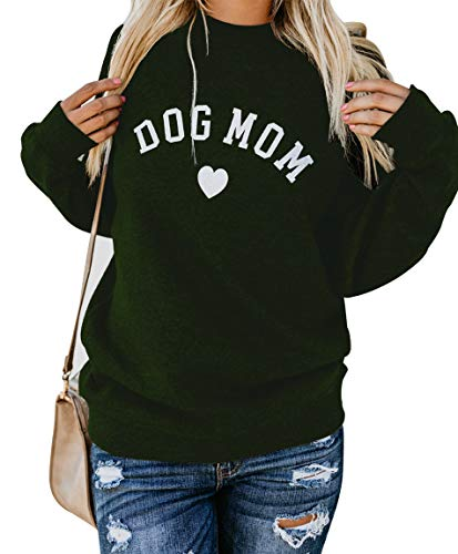 Heymiss Womens Tops Dog Mom Shirt Long Sleeve O Neck Letter...