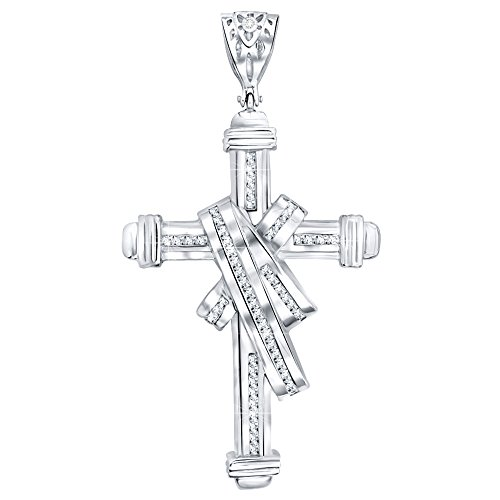 - Men's Sterling Silver .925 Original Design Iced Out Large Sash Cross Pendant with 91 Cubic Zirconia Stones. Large Bail for Wide Chains, Hand Polished, Platinum Plated.