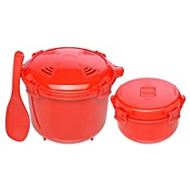Sistema Microwave Cookware Set with Vented Lids - Large Microwave Steamer Cooker, Side Dish Bowl, Spoon and Recipes (Red Set; BPA Free, 100% Food Safe)