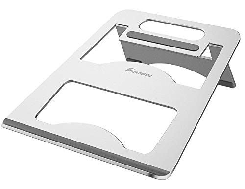 Foxnovo Adjustable Laptop Stand, Aluminum Cooling Computer Stand Desktop Holder Compatible with MacBook, MacBook Air, MacBook Pro, Dell XPS, HP, Microsoft, Lenovo & Any Notebook Between 7-17 inches