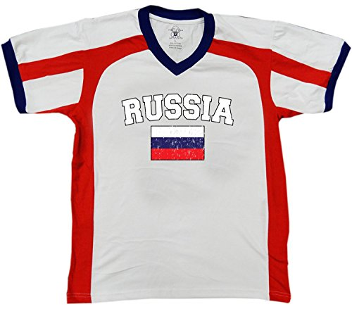 fan products of Flag of Russia Men's Soccer Style Sport T-Shirt, Amdesco, White/Red/Navy XL