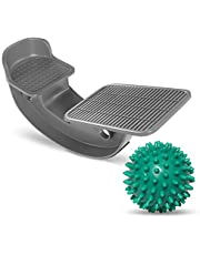 ProHeal Foot Rocker Calf Stretcher with Spiked Ball Massager - for Plantar Fasciitis, Achilles Tendonitis - Calf, Foot, Heel, and Ankle Stretcher - Lower Leg Pain Relief - Gray with Green Ball