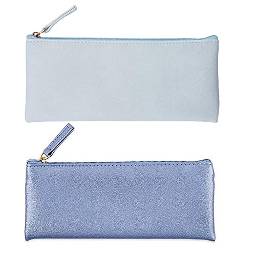 Muhuyi PU Leather Pencil Case Pouch Bag Simple Pencils Pouch Makeup Pouch Cosmetic Pouch for Girls, Boys, School, Travel (Blue+Blue Gold) by Muhuyi