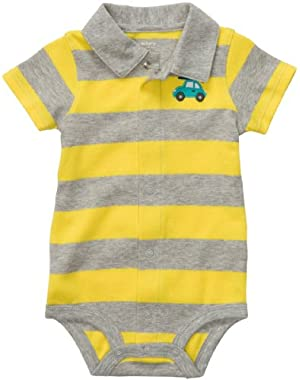 Carters Baby Boys' Stripe Car Polo Bodysuit
