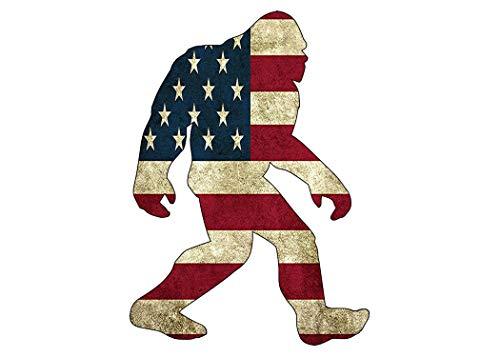 Rogue River Tactical USA Flag Bigfoot Sasquatch Sticker Bumper Car Decal Gift Patriotic American United States