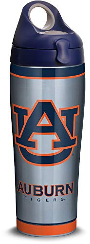 Tervis 1309968 Auburn Tigers Tradition Stainless Steel Insulated Tumbler with Navy with Gray Lid 24oz Water Bottle Silver ()