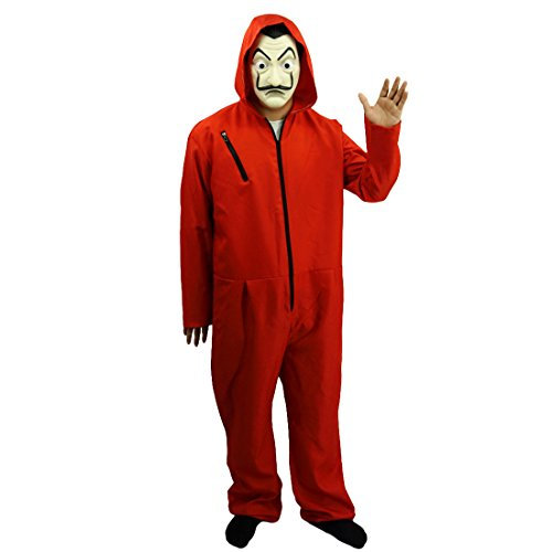 Amazon.com: La Casa De Papel Salvador Dali Cosplay Movie Costume Red Coverall Halloween Costume (M): Clothing