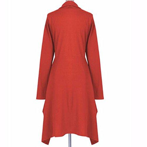 QIYUN.Z Mujeres Ocasional Manga Larga Túnica Irregular Dobladillo Cuello Cuello Vestido Rojo