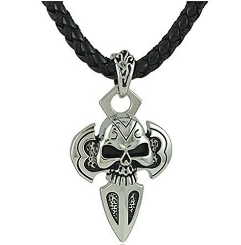 [SunIfSnow Men Halloween Retro Skull A Sword Drawn Pendant Necklace] (Homemade Halloween Costumes Party Invitations)