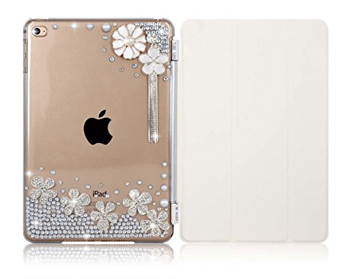 iPad Air 2 Case Handcraft DIY Bling Glitter Translucent Back Case Cover plus [Wake/Sleep Function] Tri-fold Front Magnetic Cover for Apple iPad Air 2 …