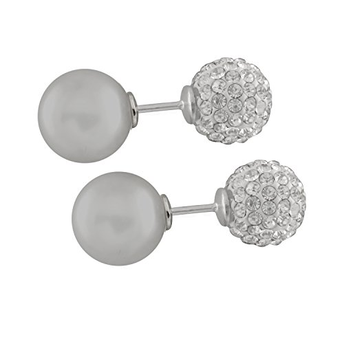 928 Sterling Silver Rhodium-plated T-shirt Style Barbell Earrings 14mm AAA+ Shell Pearls CZ Accent Ball