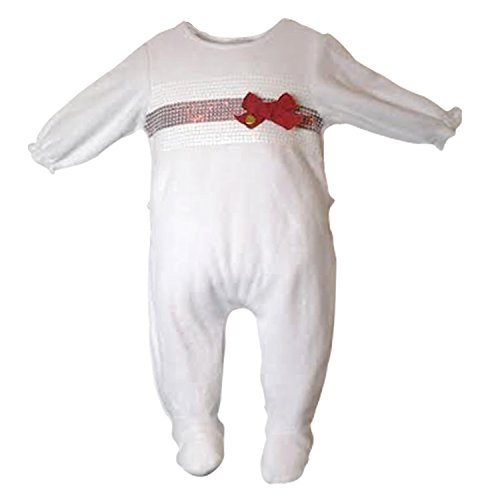 Baby Girl Footie Sequence Ribbon Velour Footed Romper Pajama 1 pc 6M White & Red