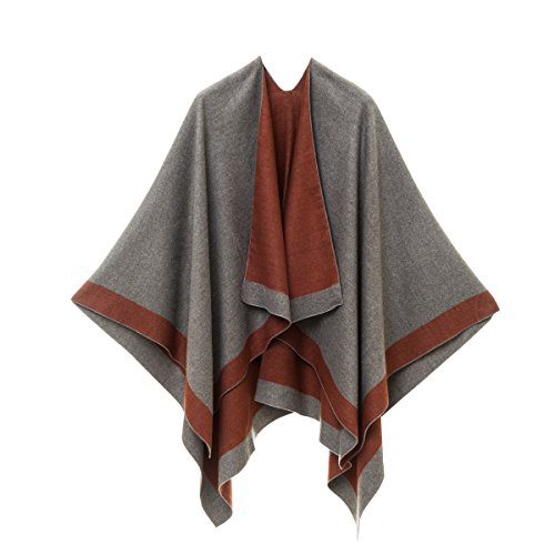 Cardigan Poncho Cape: Women Elegant Caramel Brown Gray Cardigan Shawl Wrap Sweater Coat for Winter (Gray Caramel)
